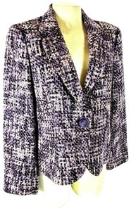 Emma James White Purple Tweed Button Blazer Blazer