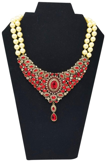 """Item - Red """"Worth Waiting For"""" Beaded 2-strand Crystal Drop Necklace"""