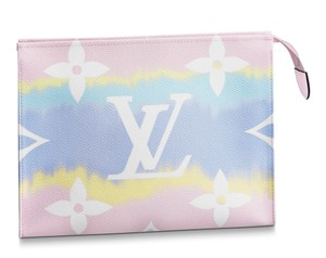 Louis Vuitton Classic Leather Monogram Patches Pink Clutch