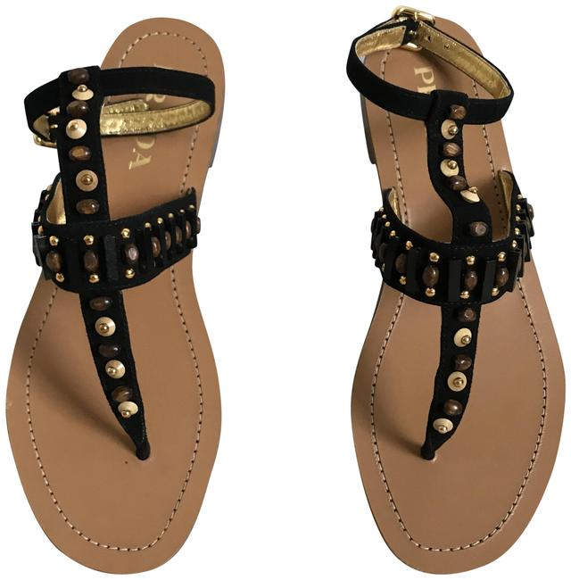 Item - Black W Suede W/Beading In 6.5. Made In Italy. Sandals Size US 6.5 Regular (M, B)