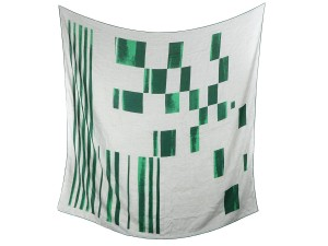 Bottega Veneta Green and Gray Geometric Print Cashmere Silk Scarf