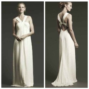 Nicole Miller White Ivory Lurex Empire Athena Chiffon Silk Modern Wedding Dress Size 8 (M)