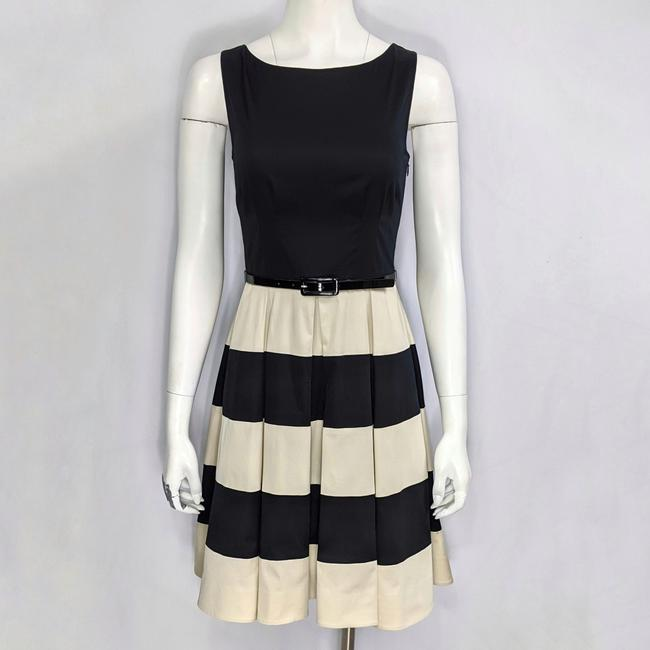 Item - Black & Beige Box 'celina' Belted Pleated Full Skirt Party Short Casual Dress Size 4 (S)