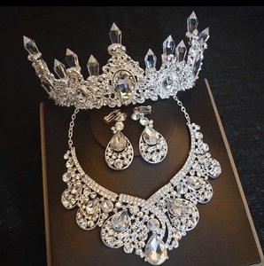 3pc Luxury Big Rhinestone Tiara Necklace Earrings Can Be Purchased Separately. Jewelry Set
