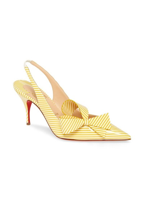 Item - Yellow/White Clare Nodo Striped Side-bow Pumps Size US 8.5 Regular (M, B)