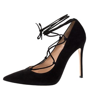 Gianvito Rossi Suede Lace Pointed Toe Black Pumps