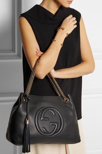 Item - Messenger Soho New Medium Satchel Tote Black Leather Shoulder Bag