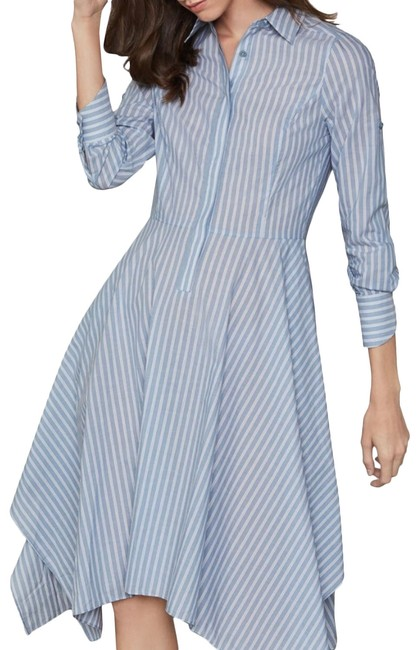 Item - Light Blue Pinstripes Cotton Poplin Handkerchief Shirt Mid-length Work/Office Dress Size 10 (M)