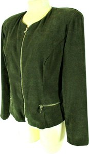 Worthington Gold Zip Green Faux Suede Blazer Blazer