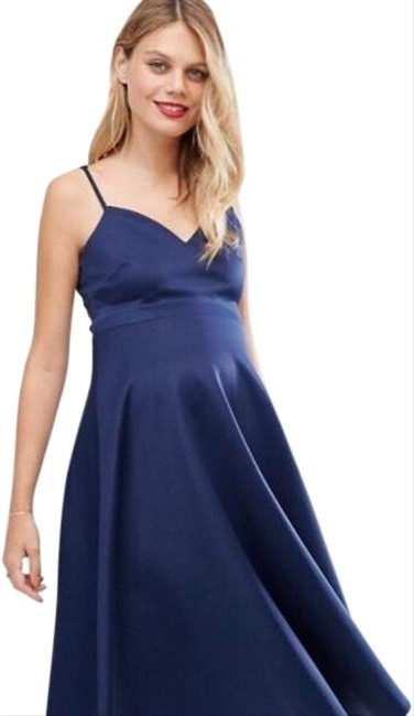 Item - Navy Scuba Strappy Midi Maternity Dress Size 6 (S, 28)