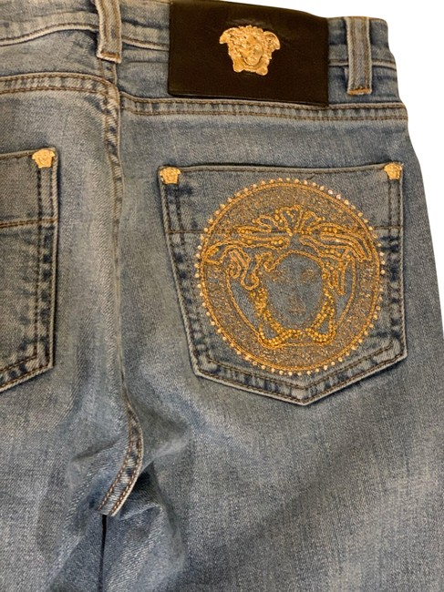 Item - Blue with Gold Straight Leg Jeans Size 0 (XS, 25)