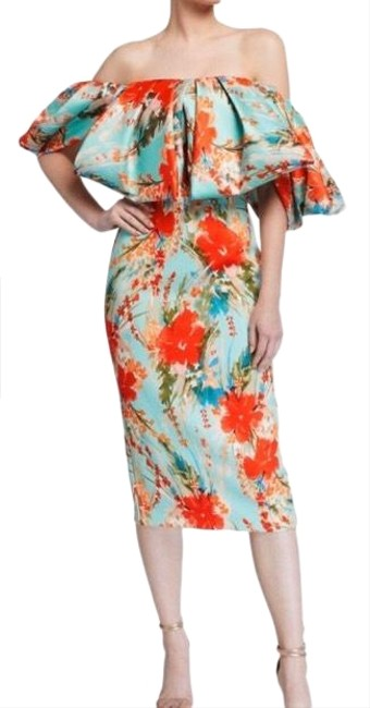 Item - Multi-colored Floral Off-the-shoulder Puff-sleeve Sheath Sc2511 Mid-length Night Out Dress Size 12 (L)