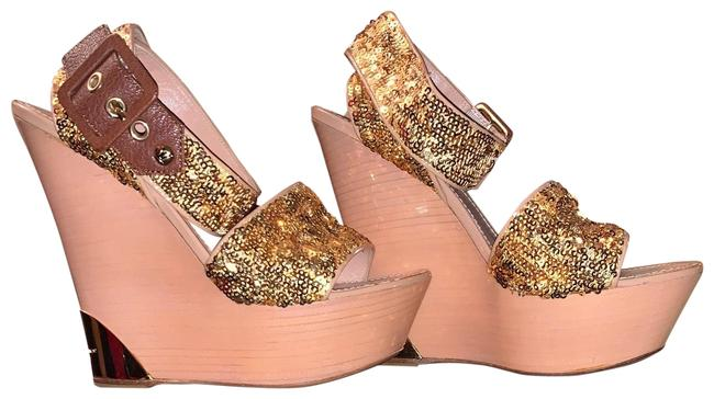 Item - Gold Sequined Wedges Size EU 37 (Approx. US 7) Regular (M, B)