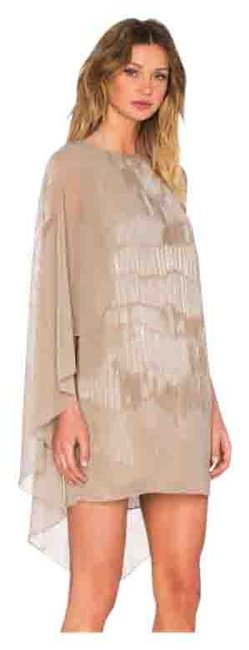 Item - Beige Heritage Asymmetrical Sleeve Mini Short Cocktail Dress Size 4 (S)