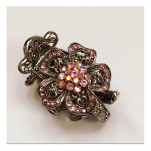 Nicole Miller Pink Crystal & Silver Tone Metal Hair Accessory
