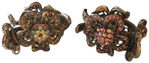 Nicole Miller Two Crystal & Silver-Tone Metal Hair Accessories
