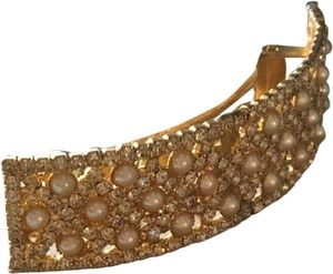 Nicole Miller Metal Hair Accessory - Pearls & Crystals on Gold Tone