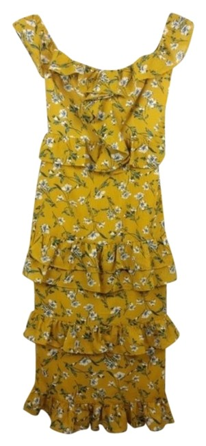 Item - Yellow Floral Lily Mid-length Cocktail Dress Size 2 (XS)