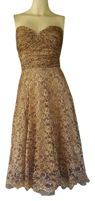 Item - Gold Caramel Lace Strapless Party Knee Length Cocktail Dress Size 8 (M)