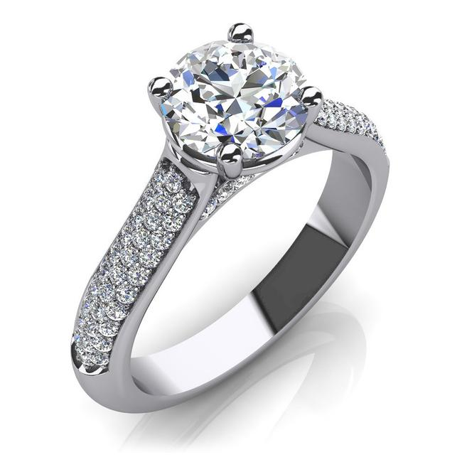 Item - White 1.75 Ct Round Accented Solitaire Engagement Ring