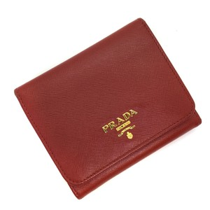 Prada Prada coin purse with metal logo plate tri-fold wallet 1M0176 saffiano leather red ladies