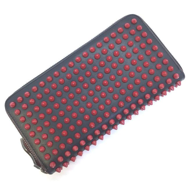 Item - Red Color Panettone Spike Studs Round Zipper Leather Ladies Wallet