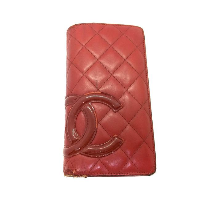 Item - Red Color Long Cambon Line Bi-fold Lambskin Ladies Wallet