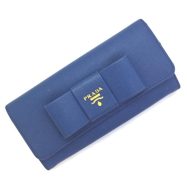 Item - Blue Purse Fiocco Ribbon Saffiano Leather Ladies K90301069 Pd3 Wallet
