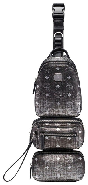 Item - Belt Gradien Visetos Trey 4-in-1 Sling Mul9arn11sv001 Black Silver Canvas Messenger Bag