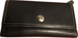 Coach COACH Wallet Black LEATHER LILAC Interior TRIFOLD