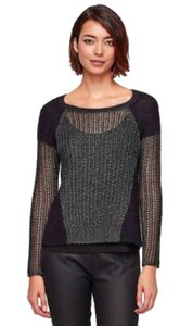 Eileen Fisher Mixed Media Ef Metallic Mohair Panels Ef Ribbed Trim Ef Gray Sweater