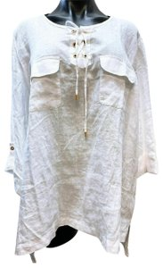 Ellen Tracy Tunic Linen New Top White