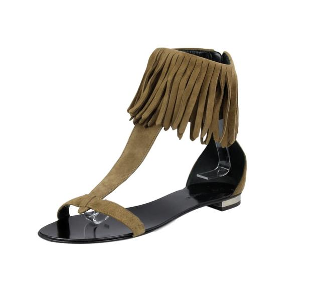 Item - Brown X Giuseppe Zanotti Collaboration Suede Fringe T-strap Sandals Size US 8 Regular (M, B)