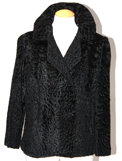 Unbranded Black Virgin Lamb Double Breasted Coat Size 6 (S) Unbranded Black Virgin Lamb Double Breasted Coat Size 6 (S) Image 1