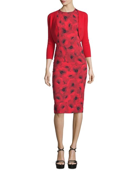 Michael Kors Collection Red/Black Couture Sleeveless Floral Poppy Sheath Mid-length Cocktail Dress Size 4 (S) Michael Kors Collection Red/Black Couture Sleeveless Floral Poppy Sheath Mid-length Cocktail Dress Size 4 (S) Image 2