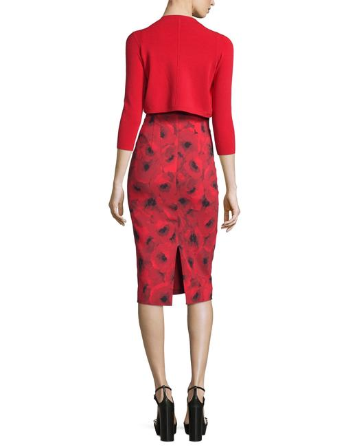 Michael Kors Collection Red/Black Couture Sleeveless Floral Poppy Sheath Mid-length Cocktail Dress Size 4 (S) Michael Kors Collection Red/Black Couture Sleeveless Floral Poppy Sheath Mid-length Cocktail Dress Size 4 (S) Image 3