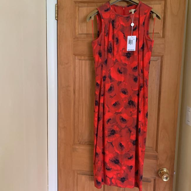 Michael Kors Collection Red/Black Couture Sleeveless Floral Poppy Sheath Mid-length Cocktail Dress Size 4 (S) Michael Kors Collection Red/Black Couture Sleeveless Floral Poppy Sheath Mid-length Cocktail Dress Size 4 (S) Image 9