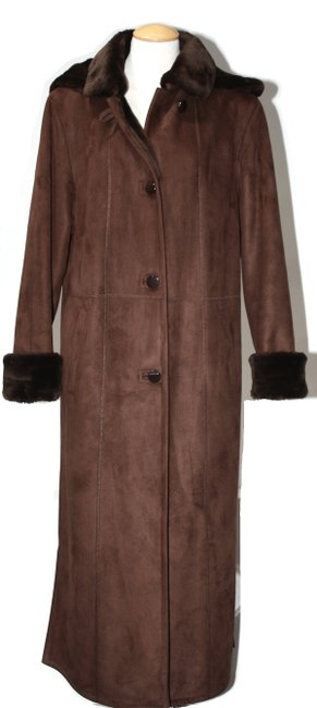 Item - Brown Faux Full Lenght Shearling Medium Coat Size 8 (M)