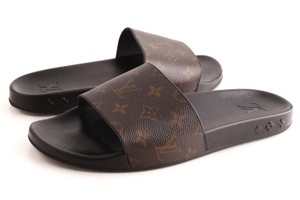 Louis Vuitton Black Mens Waterfront Monogram Mule Sandal Shoes