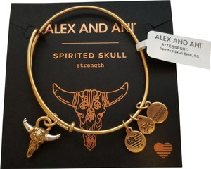Alex and Ani NWT ALEX AND ANI Spirited Skull Adjustable Wire Charm Bracelet