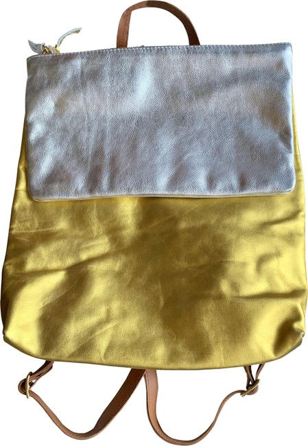 Clare V. New Agnes Gold and Silver Leather Backpack Clare V. New Agnes Gold and Silver Leather Backpack Image 1