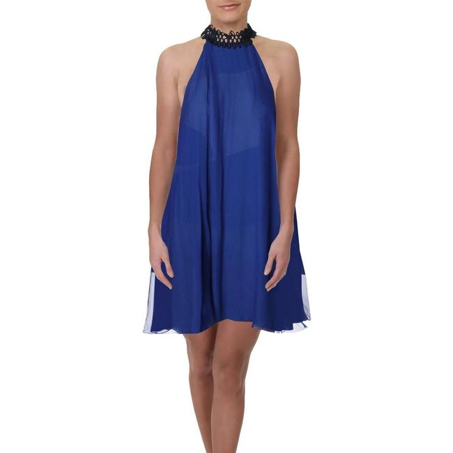Item - Midnight Blue Cocktail Party Silk - Cobalt Short Night Out Dress Size 8 (M)