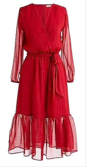Item - Red L0112 Mid-length Casual Maxi Dress Size 6 (S)