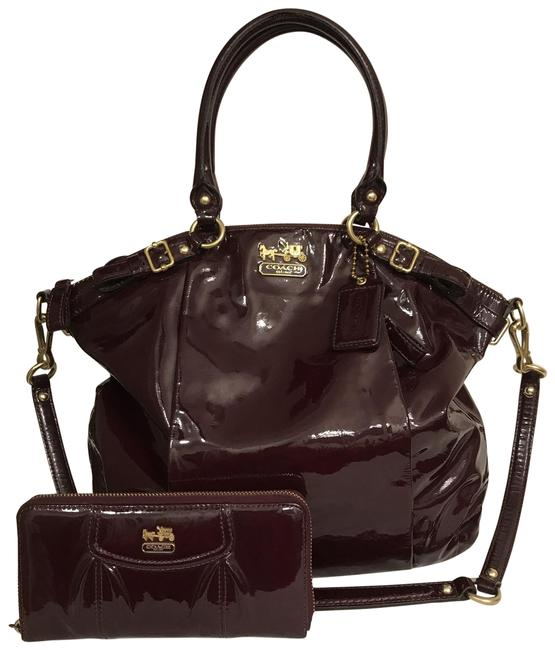 Item - Madison Lindsey 18627 Orchid & Wallet Brown Red Mahogany Gold Patent Leather Satchel