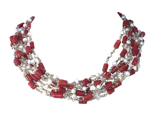 Item - Multicolor Artisan Red Coral and Cultured Pearl Bead Torsade Necklace