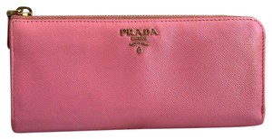 Prada Prada Pink Saffiano Leather Zip-Around Long Wallet.