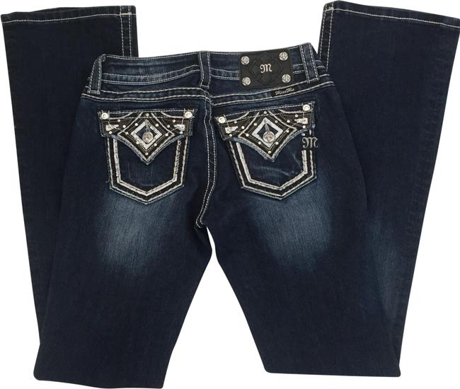Item - Blue Dark Rinse Metallic Sequin Embroidered Boot Cut Jeans Size 4 (S, 27)