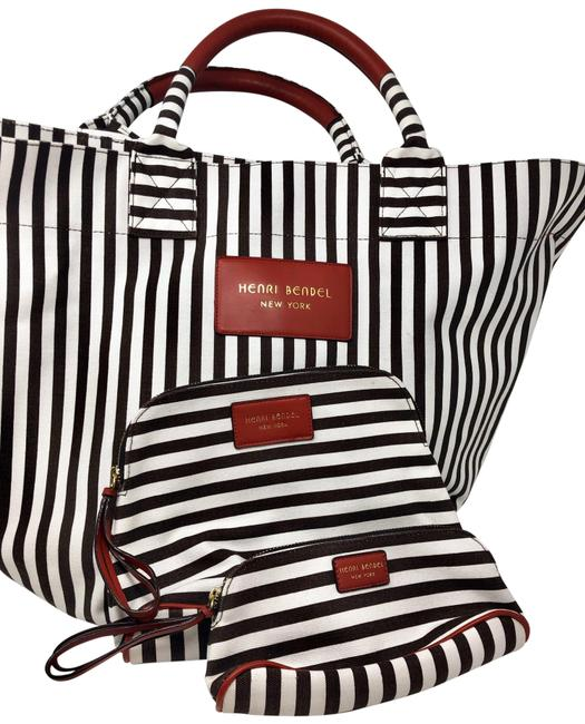 Item - Signature Stripe Plus 2 Cosmetic Bags Brown-and-white--red Details Canvas Tote