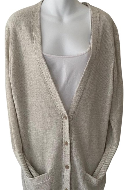 Item - Oatmeal Button Front Linen Sweater In Oyster Small. Cardigan Size 4 (S)