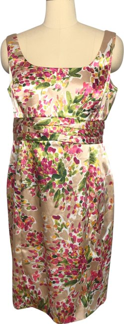Item - Tan Pink Green Yellow White Floral Garden Mid-length Cocktail Dress Size 14 (L)